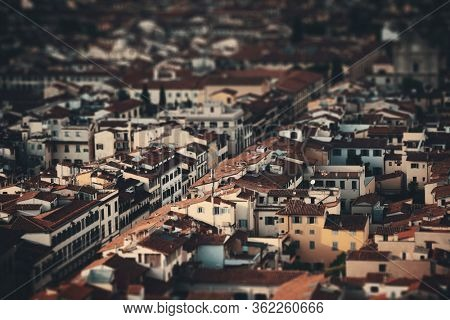 Roofs of old buildings in Florence in Italy tilt-shift effect