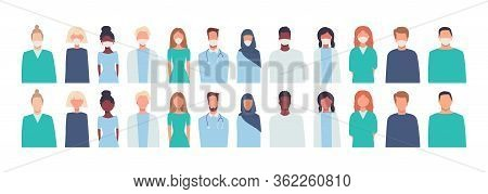 Set Of Vector Illustrations In Flat Style Isolated On White. Modern, Multiethnic Society. Men And Wo