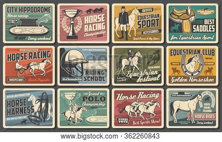 Racehorse And Jockey Retro Posters Of Horse Racing, Equestrian Sport, Riding Club And Polo Vector De