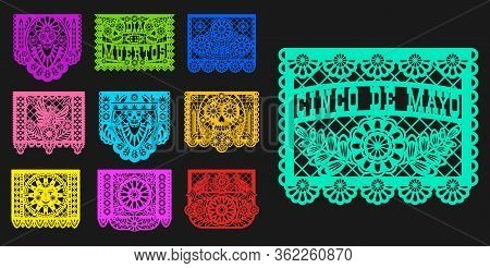Mexican Day Of Dead, Papel Picado Isolated Paper Cutting Flags Templates. Vector Traditional Mexico