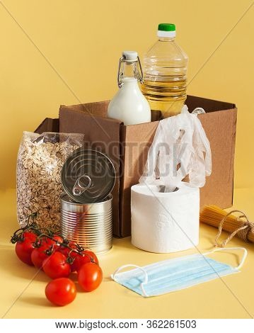 Safe Food Delivery In A Cardboard Box With Food Supplies And Disposable Mask And Gloves, Food Supply
