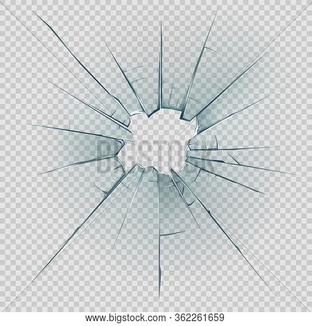 Broken, Cracked Or Crashed Glass Vector Design With Realistic Hole, Shatters And Cracks, Sharp Edges