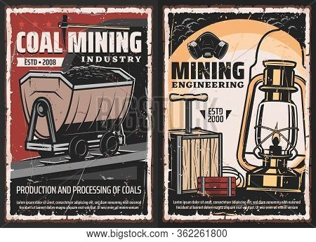 Coal Mining Industry Grunge Design With Vector Mine Equipment And Miner Tools. Geology Pick Axe, Oil