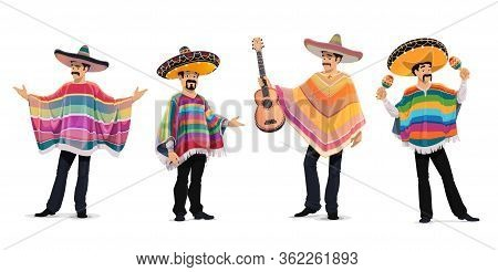 Mexican Musicians At Cinco De Mayo Festival. Mariachi Music Band Isolated Cartoon Vector Characters