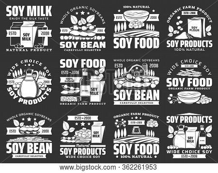Soybean Legume Icons Of Soy Bean Food Products. Vector Soy Milk, Oil And Sauce Bottle, Tofu, Miso An