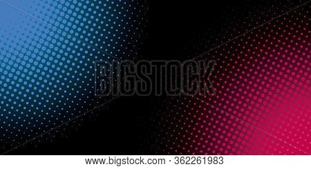 Color Digital Halftone Hexagon Effect Fade On Black Background. Rts Technology Background. Halftone