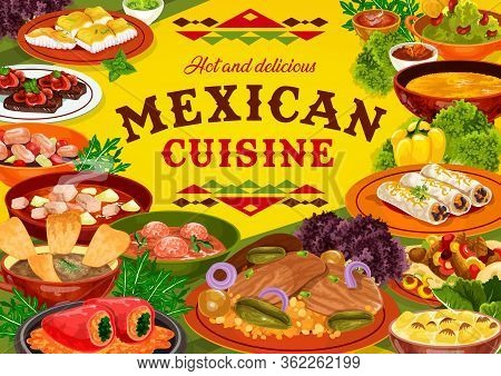 Mexican Cuisine Restaurant Food Vector Design. Meat And Vegetable Dishes Of Burritos, Fajitas And Es