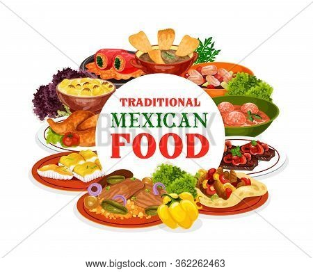 Mexican Meat And Vegetable Food, Cuisine Of Mexico Vector Design. Beef Fajitas, Stuffed Peppers And