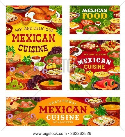 Mexican Cuisine Vector Dishes. Vegetable, Meat And Fish Food Of Burritos, Fajitas With Salsa And Gua