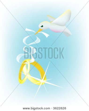 a dove carrying a pair of wedding rings with a ribbon. poster