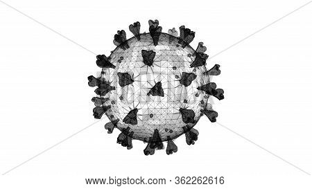 3d Wireframe Of A Single Coronavirus Particle On A White Background
