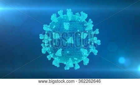3d Wireframe Of A Single Coronavirus Particle On A Blue Background