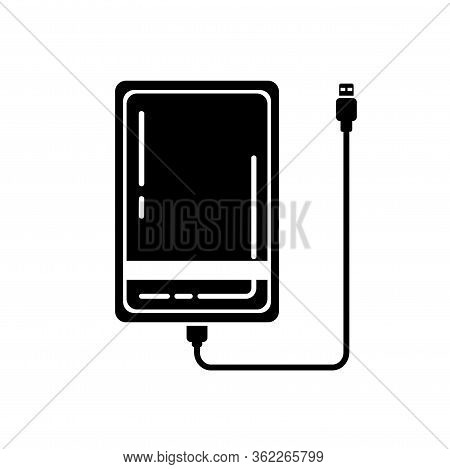 Glypgh External Hard Disk Drive Icon With Usb Cable Isolated On White Background. Black Powerbank Fo