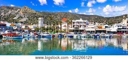 Greece travel. Beautiful places of Crete island - pictorial fishing village Elounda.