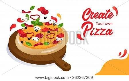 Tasty Cheese Pizza With Ingredients On Wooden Food Stand. Website Landing Page. Possibility Of Makin