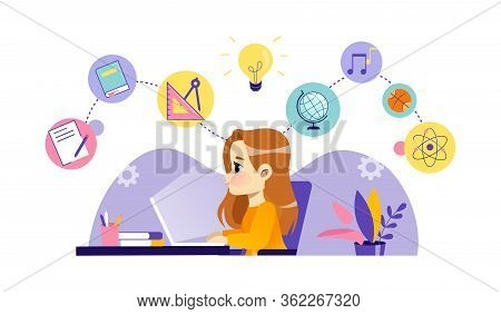 Children Online Education, Distance Exam, Remote Study, Training And Courses, Video Tutorials. Cheer