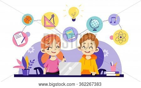 Children Online Education, Remote Studying, Training And Courses, Learning, Video Tutorials. Cheerfu