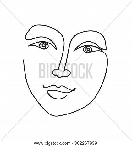 Beautyfull Girl Face. Attractive Young Woman Portrait Positive Emotions Concept. Continuous Line Dra