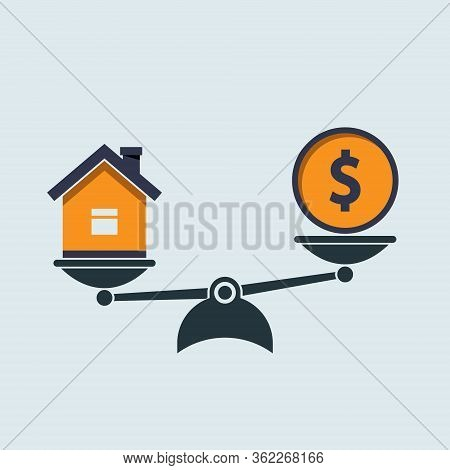 Money Dollar And House Scales Icon. Money And House Balance On Scale. Real Estate Sale. Weights With