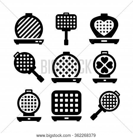Waffle-iron Icon Set. Simple Set Of Belgian Waffle-iron Vector Icons For Web Design On White Backgro