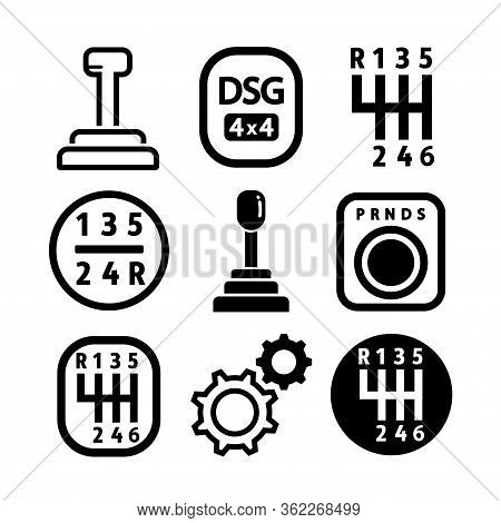 Vector Car Gearbox Icon Set. Outline Set Of Car Gearbox Vector Icons For Web Design Isolated On Whit