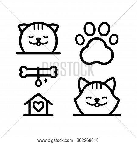 Pet Hotel Vector Logo Set Minimal Concept. Vector For Pet Shop Or Hotel.