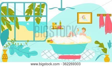 Girl Relax In Bathroom, Smiling Woman Lying In Bathtub Full Of Soap Foam Bubbles Cartoon Vector Illu