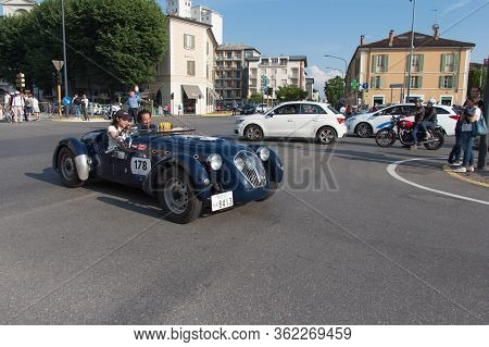 Brescia, Italy - May 19 2018: Healey 2400 Silverstone D-type 1949 Is An Old Racing Car In Rally Mill