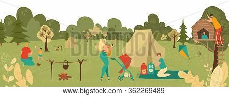 People Relaxing In Park With Kids, Parents Playing With Children, Picnic And Hiking In Nature Landsc