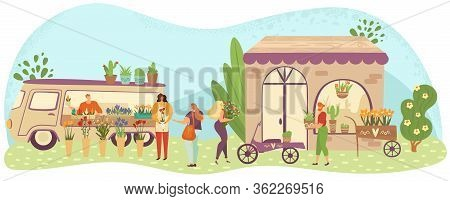 Outdoor Flower And Plants Market With People Or Customers Walking Among Stalls, Florists Selling Bou