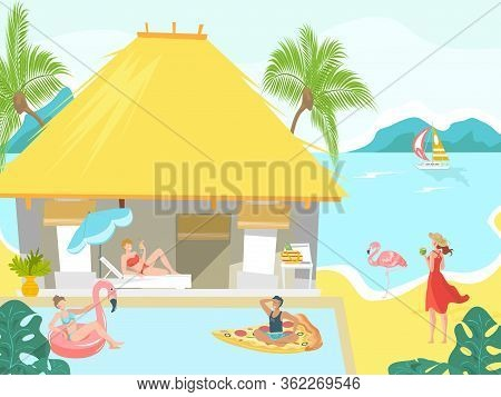 Vacationers At Sea Beach Bungalow People Sunbathing On Tropical Resort, Vacation Flat Vector Illustr