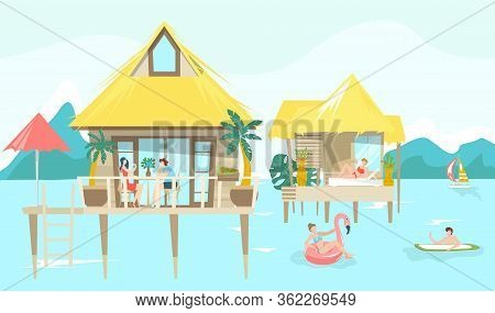 Sea Bungalow And Vacationers People Sunbathing On Tropical Thai Resort, Vacation Flat Vector Illustr