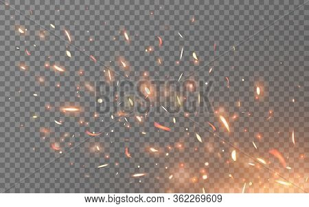 Fire Sparks Isolated On Light Transparent Background. Burning Particles Flying Up. Realistic Lightin