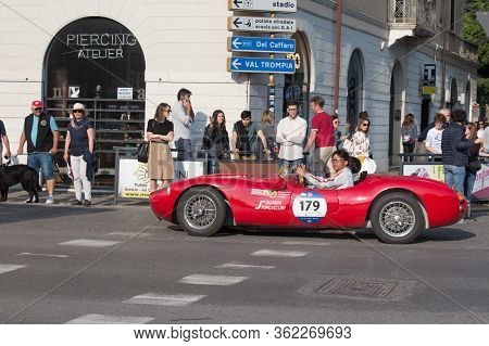 Brescia, Italy - May 19 2018: Stanguellini 1100 Sport Bialbero 1949 Is An Old Racing Car In Rally Mi