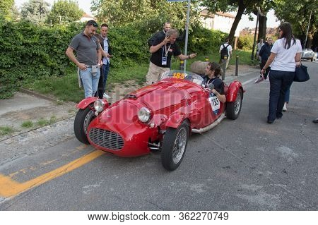 Brescia, Italy - May 19 2018: Ermini 1100 Siluro Motto 1950 Is An Old Racing Car In Rally Mille Migl