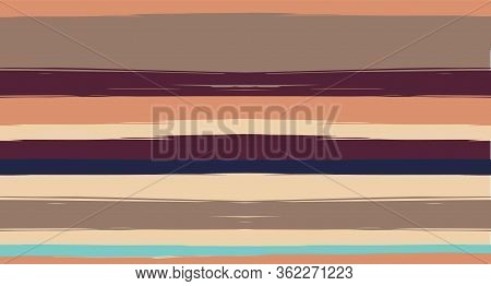 Orange, Brown Vector Watercolor Sailor Stripes Cool Seamless Summer Pattern. Vintage Trace Grunge Fa