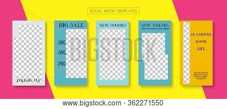 Modern Stories Vector Background. Trendy Sale, New Arrivals Story Layout. Online Shop Graphic Graphi