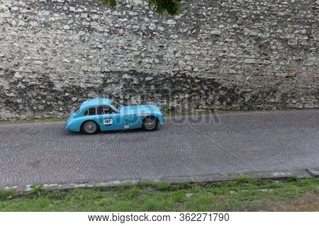 Brescia, Italy - May 19 2018: Talbot-lago T 26 Gs Berlinette 1950 Is An Old Racing Car In Rally Mill