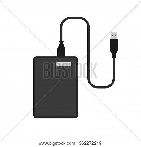 External Hard Disk Drive With Usb Cable. Vector Illustration Isolated On White Background