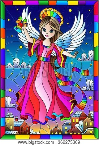 Illustration In A Stained Glass Style On A Religious Theme, An Angel Girl In A Pink Dress Hovering O