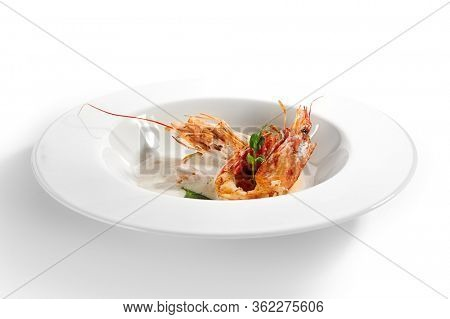 Langoustines in cream sauce. Served luxury cuisine. Norway lobster with basil leaves in white plate isolated. Seafood restaurant high menu food portion. Delicious supper, main course