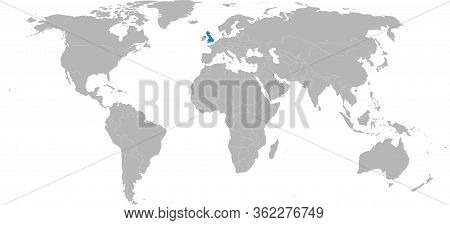 Kuwait, United Kingdom Countries Highlighted On World Map. Light Gray Background. Business Concepts,