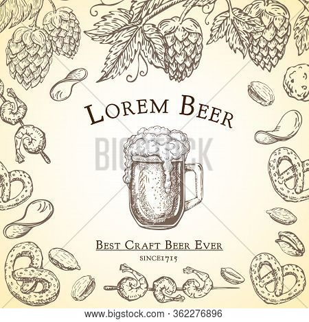 Beer Label Vector Vintage. Pub Banner, Flyer Template In Retro Engraved Style. Frame With Hops Vine,