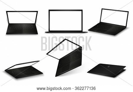 Vector Set Of Black Laptop Isolated On White Background. Computer Notebook With Blank Screens In Dif