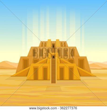 Animation Drawing: Ancient Zikkurat In Desert, Flow Of Light Tends Into The Sky. Cartoon Mystical La