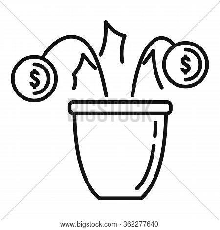 Bankrupt Money Flower Icon. Outline Bankrupt Money Flower Vector Icon For Web Design Isolated On Whi