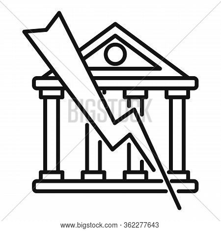 Bank Bankrupt Icon. Outline Bank Bankrupt Vector Icon For Web Design Isolated On White Background