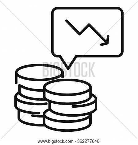 Bankrupt Coin Stack Icon. Outline Bankrupt Coin Stack Vector Icon For Web Design Isolated On White B