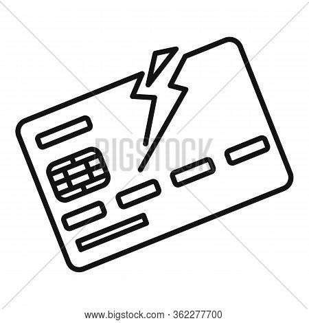 Bankrupt Bank Card Icon. Outline Bankrupt Bank Card Vector Icon For Web Design Isolated On White Bac