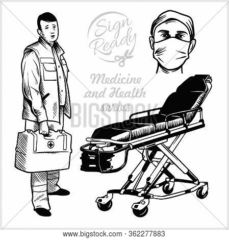 Paramedic. Medical Gurney. Vector Stock Illustration Isolated